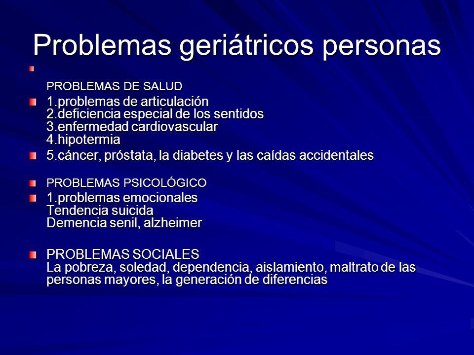 Problemas geriátricos personas