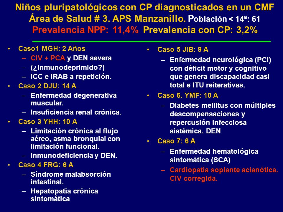 Niños pluripatológicos con CP diagnosticados en un CMF Área de Salud # 3. APS Manzanillo. Población < 14ª: 61 Prevalencia NPP: 11,4% Prevalencia con CP: 3,2%