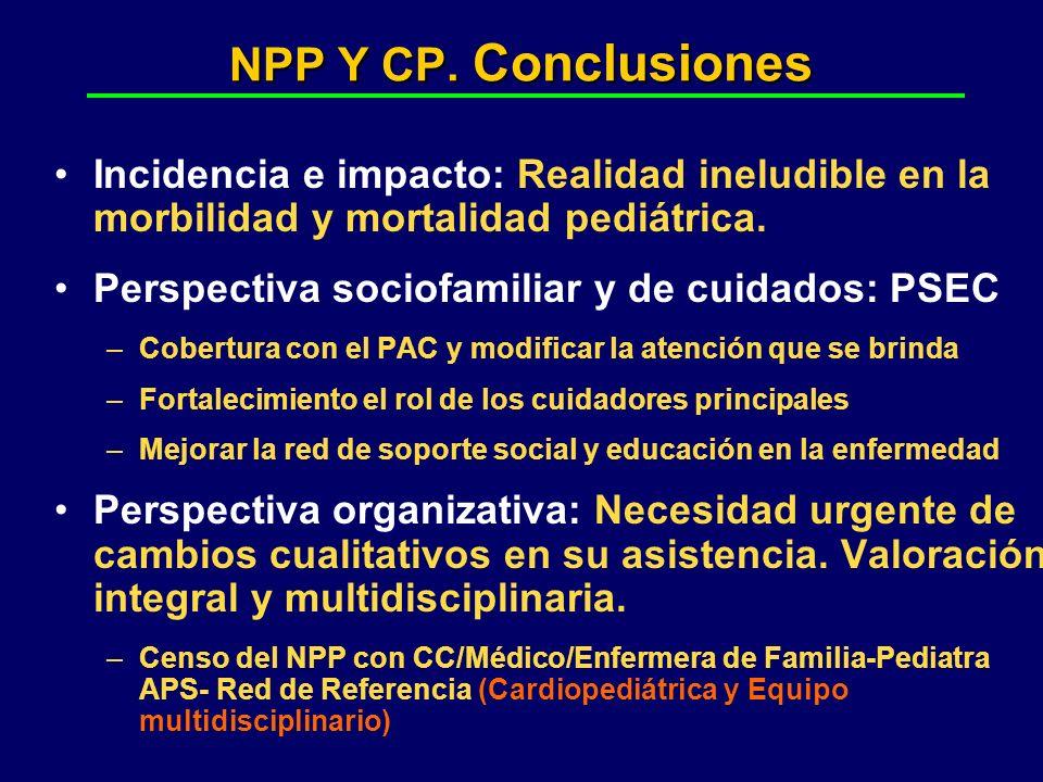 NPP Y CP. Conclusiones Incidencia e impacto: Realidad ineludible en la morbilidad y mortalidad pediátrica.