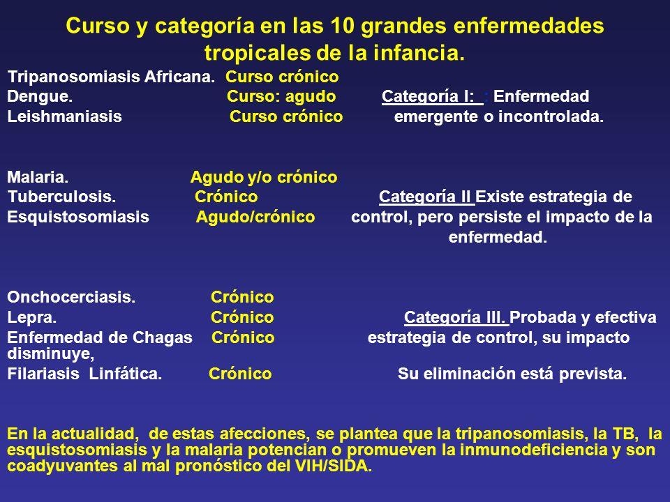 Curso y categoría en las 10 grandes enfermedades tropicales de la infancia.