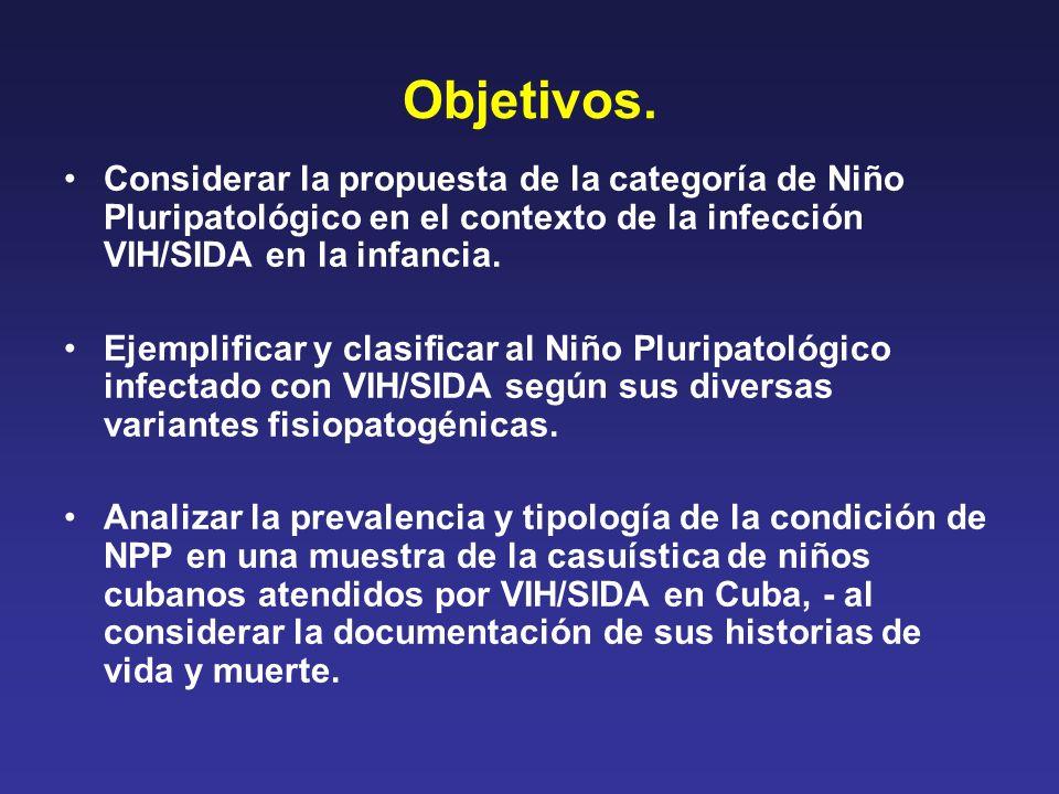 Objetivos. Considerar la propuesta de la categoría de Niño Pluripatológico en el contexto de la infección VIH/SIDA en la infancia.