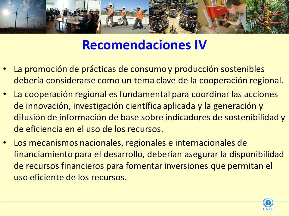 Recomendaciones IVLa promoción de prácticas de consumo y producción sostenibles debería considerarse como un tema clave de la cooperación regional.