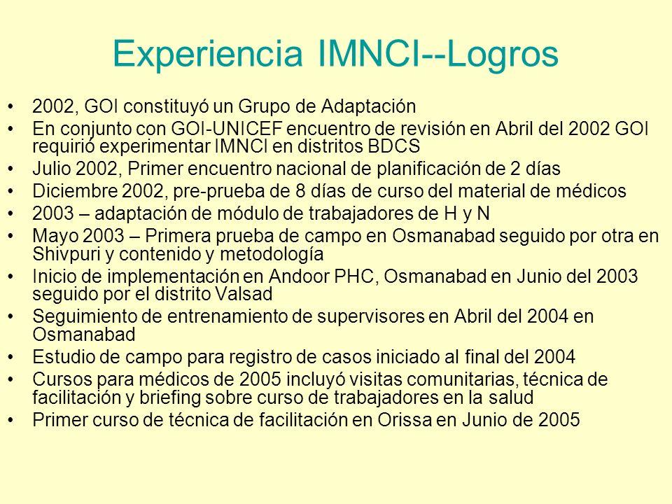 Experiencia IMNCI--Logros