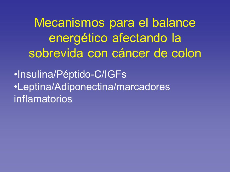 Mecanismos para el balance energético afectando la sobrevida con cáncer de colon