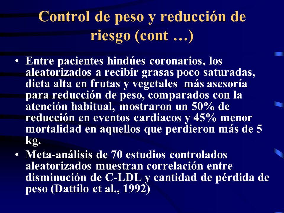 Control de peso y reducción de riesgo (cont …)