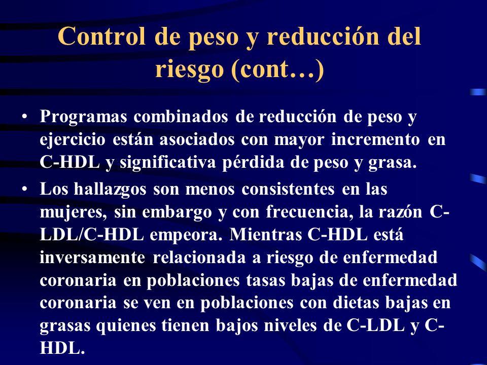 Control de peso y reducción del riesgo (cont…)