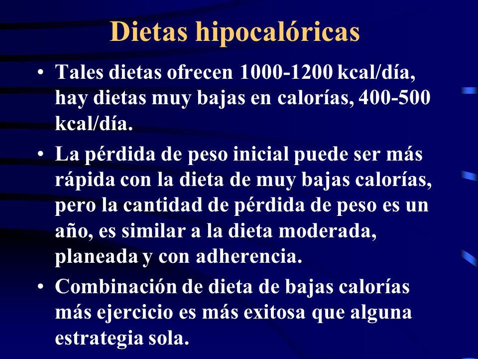 Dietas hipocalóricas Tales dietas ofrecen 1000-1200 kcal/día, hay dietas muy bajas en calorías, 400-500 kcal/día.