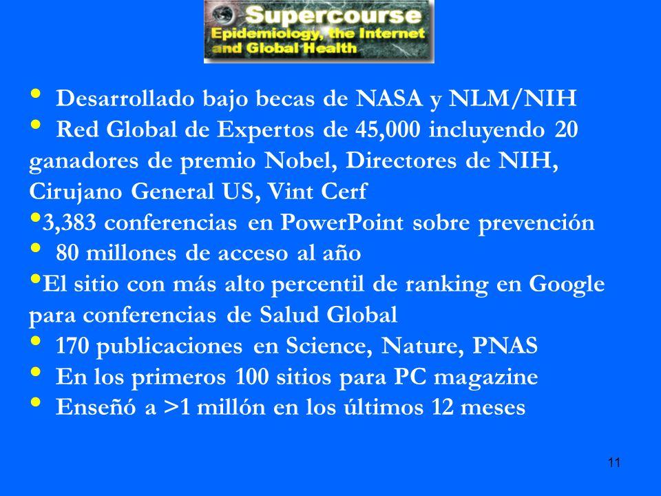 Desarrollado bajo becas de NASA y NLM/NIH