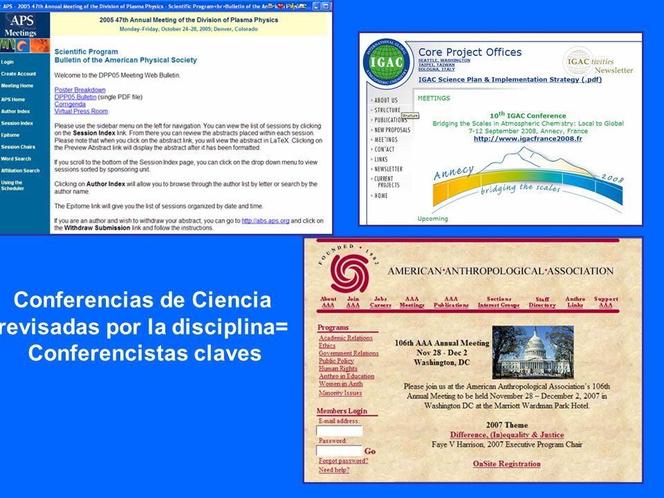 Conferencias de Ciencia revisadas por la disciplina=