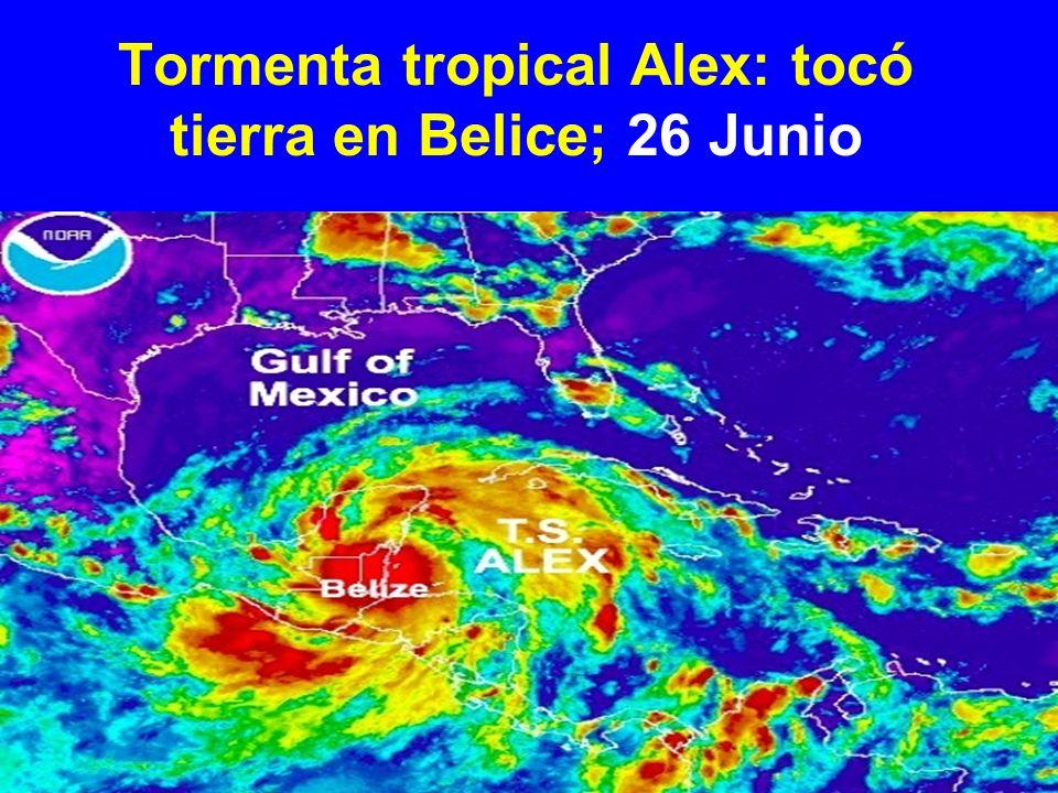 Tormenta tropical Alex: tocó tierra en Belice; 26 Junio