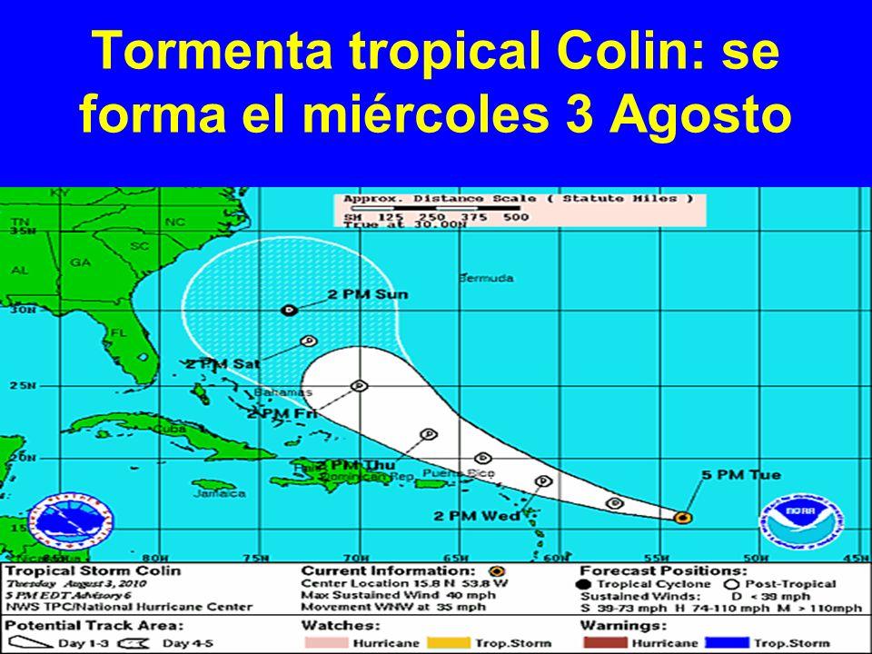 Tormenta tropical Colin: se forma el miércoles 3 Agosto
