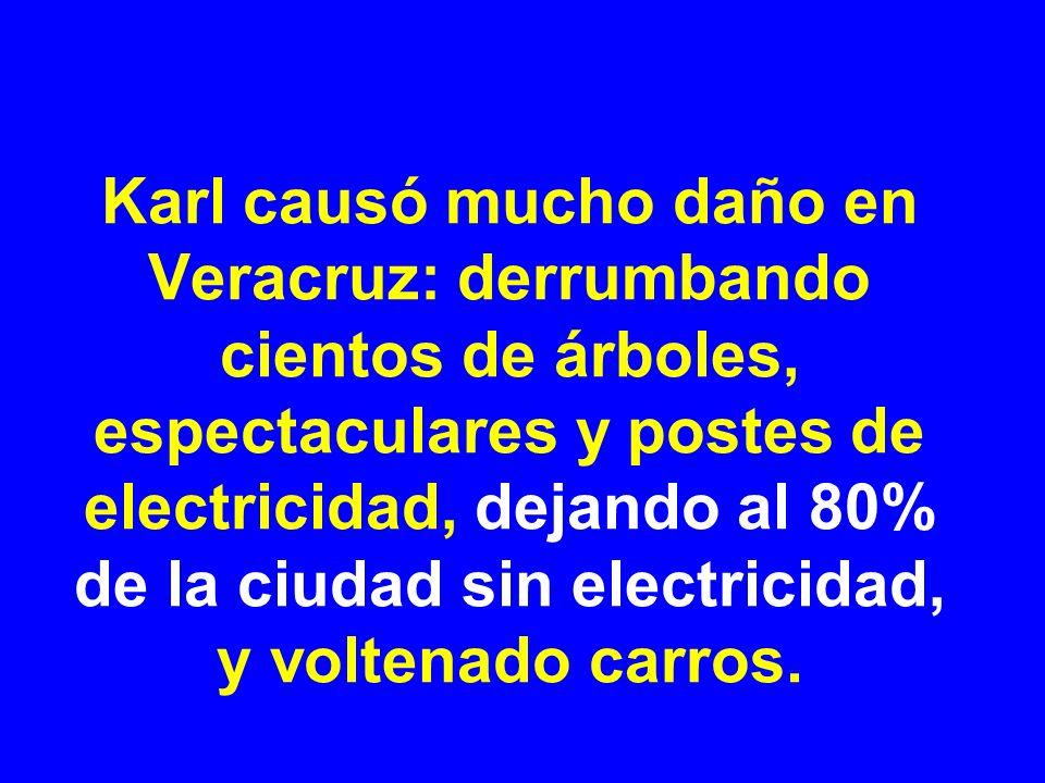 Karl causó mucho daño en Veracruz: derrumbando cientos de árboles, espectaculares y postes de electricidad, dejando al 80% de la ciudad sin electricidad, y voltenado carros.
