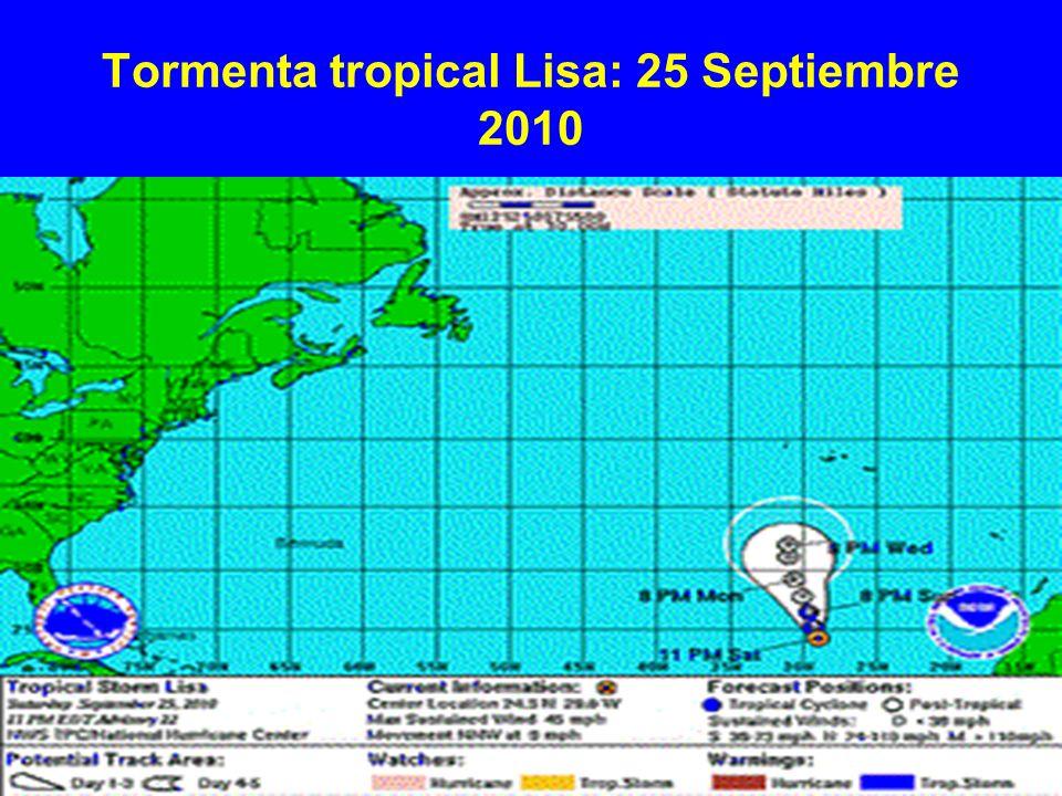 Tormenta tropical Lisa: 25 Septiembre 2010