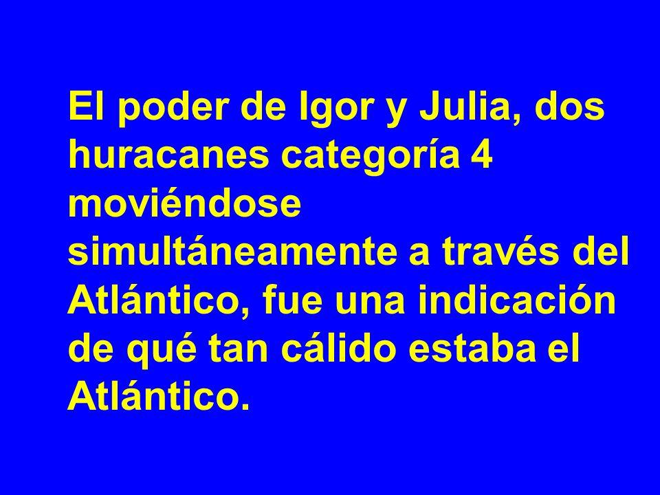 El poder de Igor y Julia, dos huracanes categoría 4 moviéndose simultáneamente a través del Atlántico, fue una indicación de qué tan cálido estaba el Atlántico.