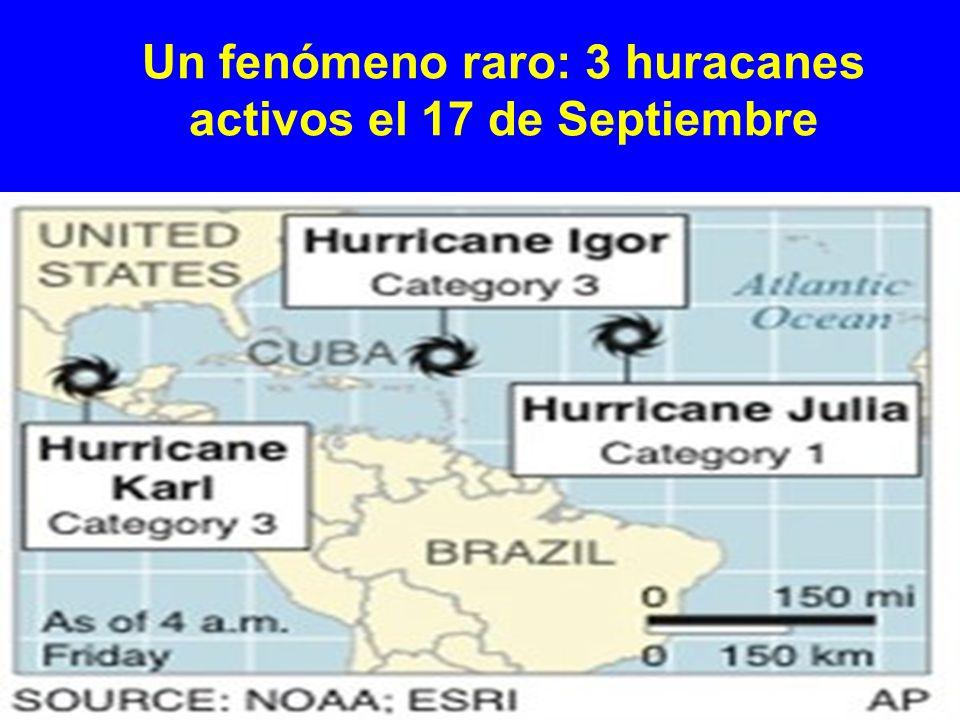 Un fenómeno raro: 3 huracanes activos el 17 de Septiembre
