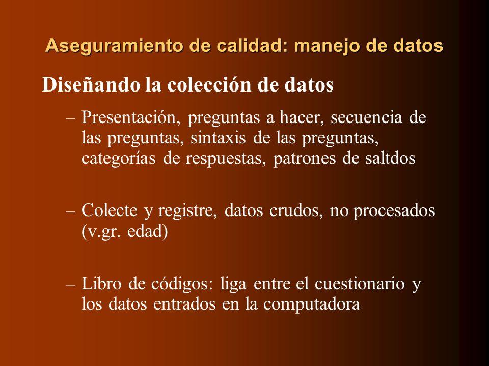 Aseguramiento de calidad: manejo de datos