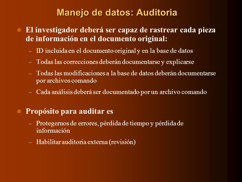 Manejo de datos: Auditoria