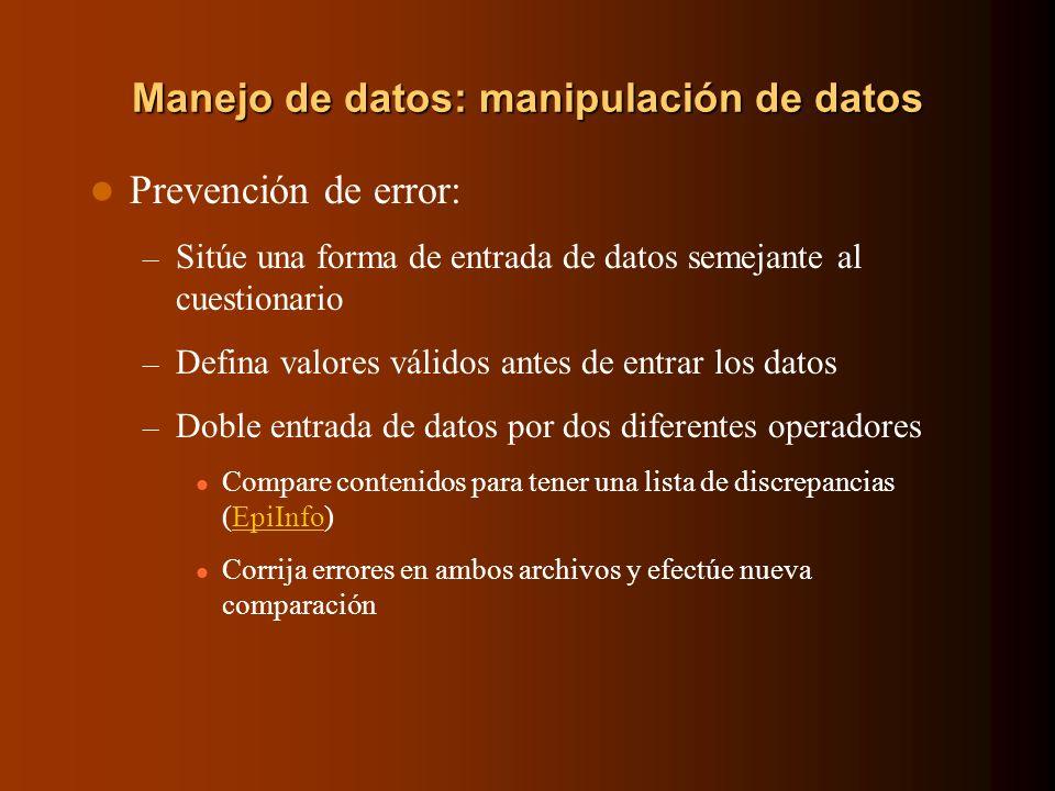 Manejo de datos: manipulación de datos