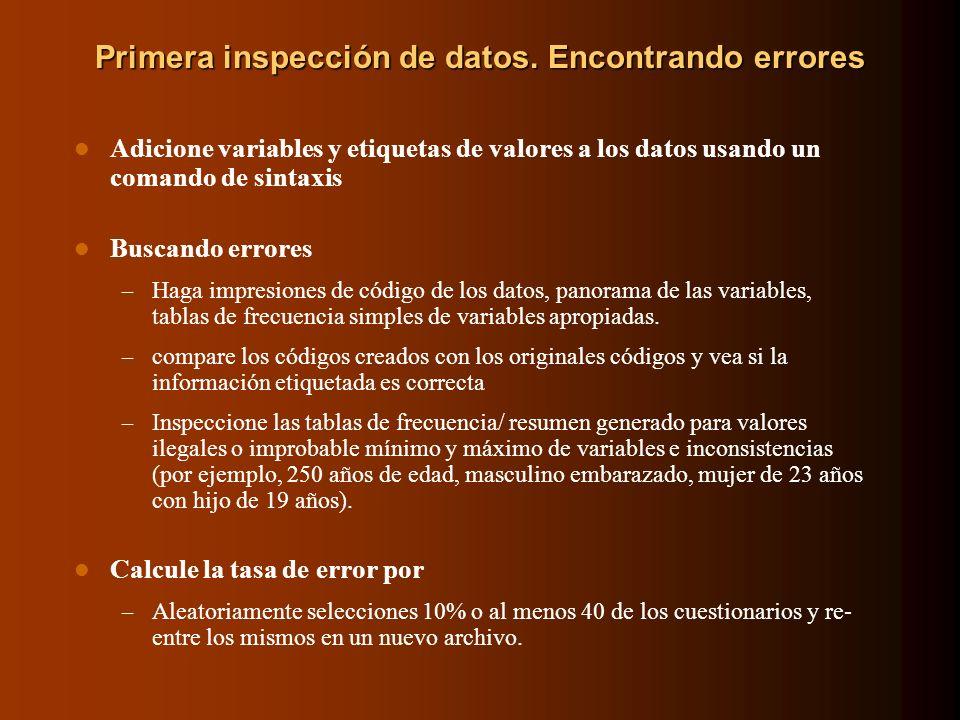 Primera inspección de datos. Encontrando errores