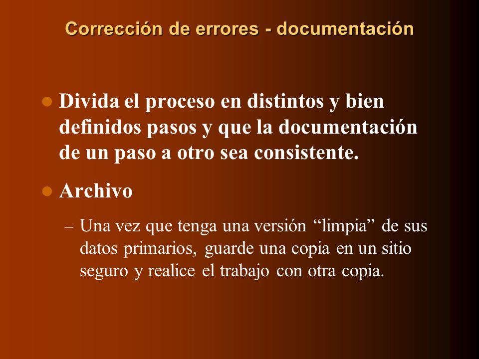 Corrección de errores - documentación
