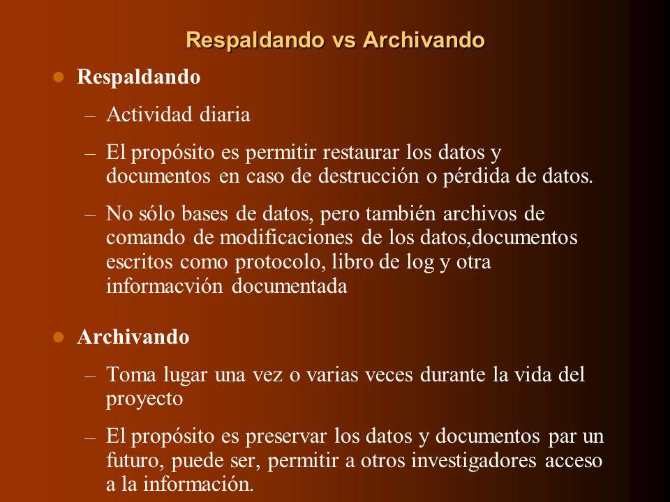 Respaldando vs Archivando