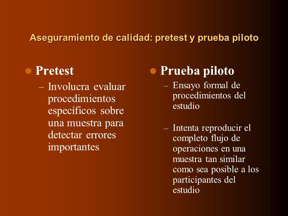 Aseguramiento de calidad: pretest y prueba piloto