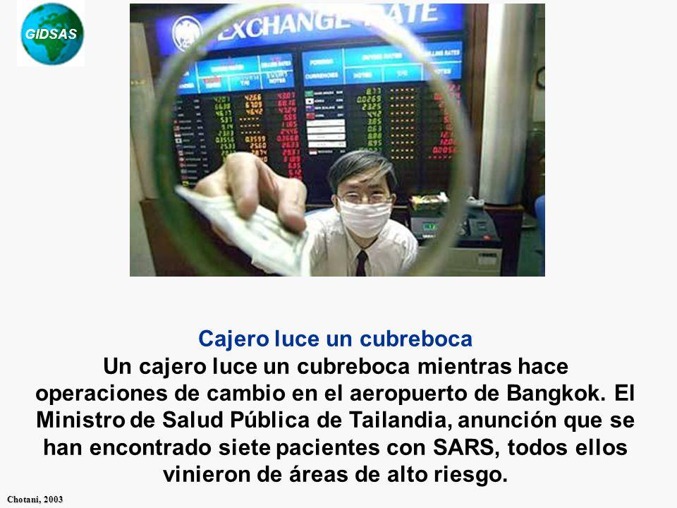 Cajero luce un cubreboca Un cajero luce un cubreboca mientras hace operaciones de cambio en el aeropuerto de Bangkok. El Ministro de Salud Pública de Tailandia, anunción que se han encontrado siete pacientes con SARS, todos ellos vinieron de áreas de alto riesgo.