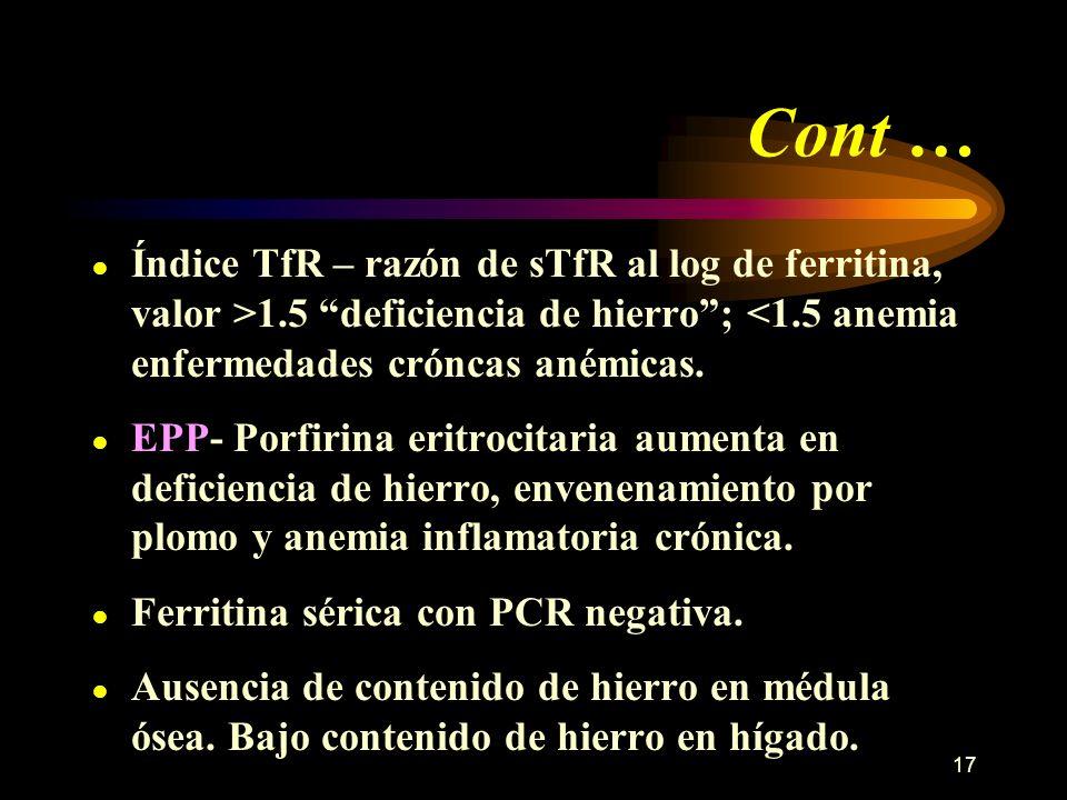 Cont …Índice TfR – razón de sTfR al log de ferritina, valor >1.5 deficiencia de hierro ; <1.5 anemia enfermedades cróncas anémicas.