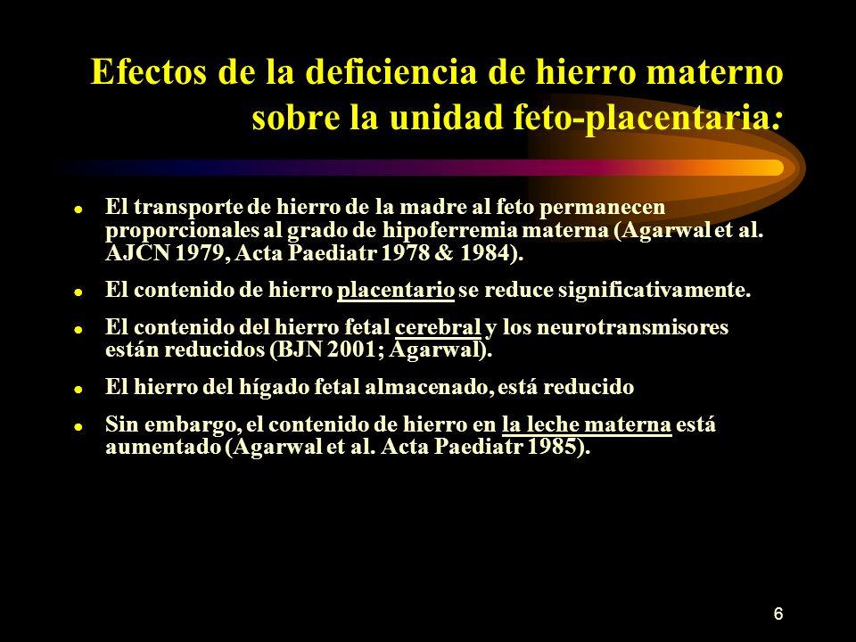 Efectos de la deficiencia de hierro materno sobre la unidad feto-placentaria: