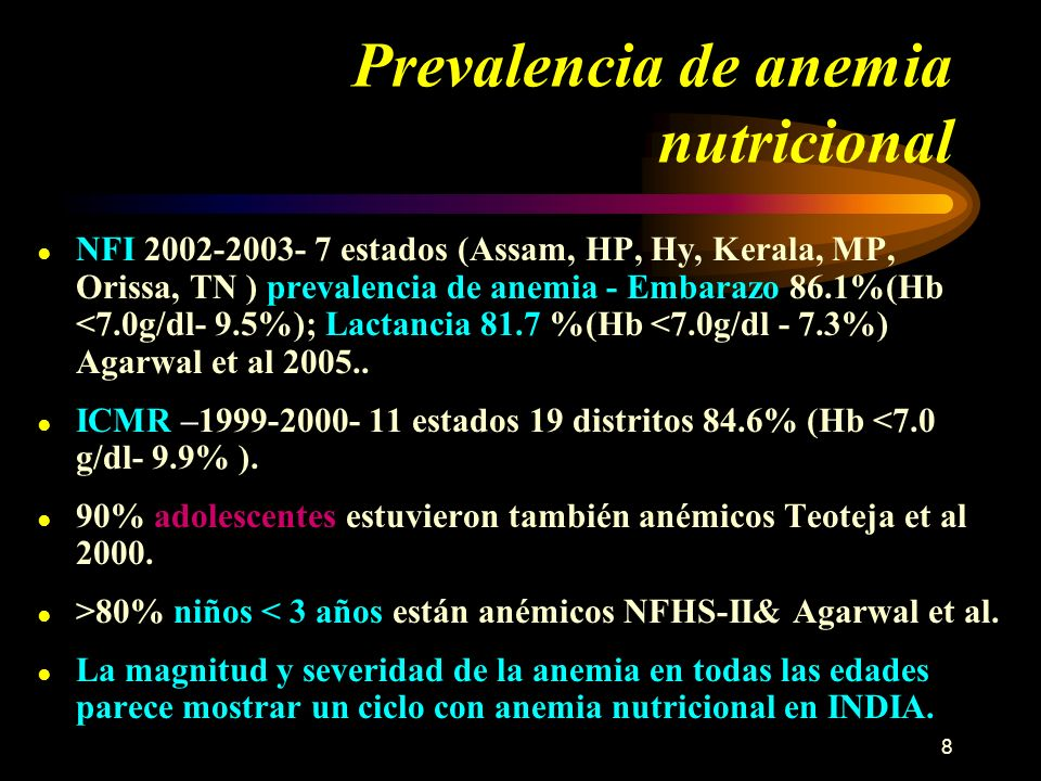 Prevalencia de anemia nutricional