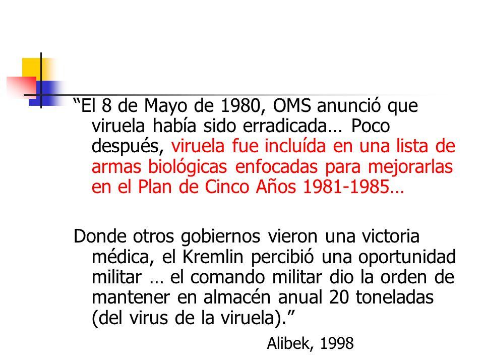 El 8 de Mayo de 1980, OMS anunció que viruela había sido erradicada… Poco después, viruela fue incluída en una lista de armas biológicas enfocadas para mejorarlas en el Plan de Cinco Años 1981-1985…