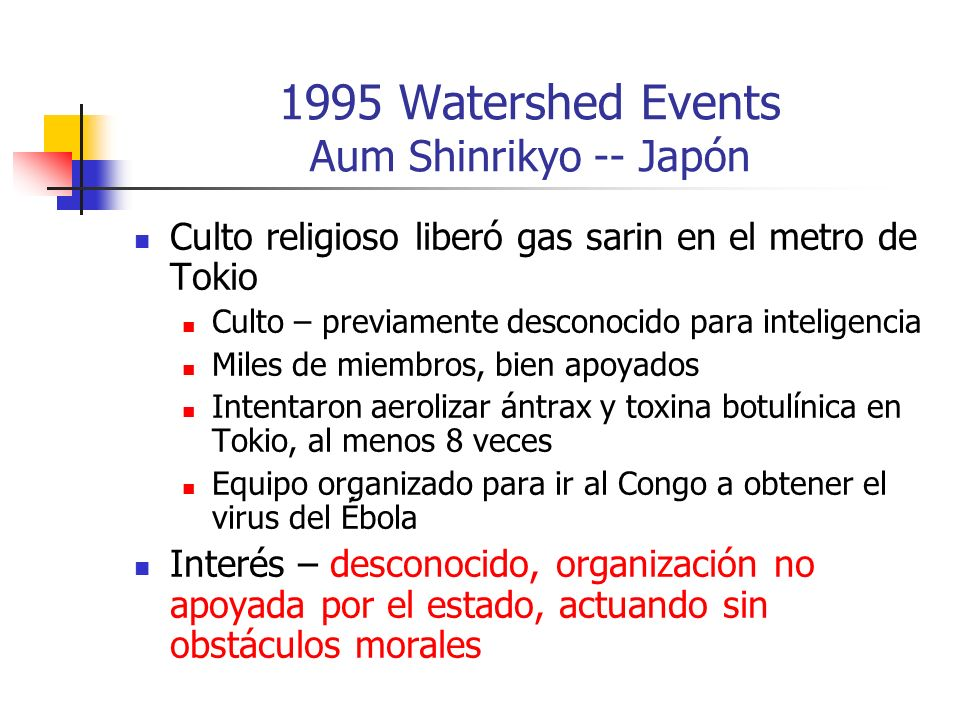 1995 Watershed Events Aum Shinrikyo -- Japón