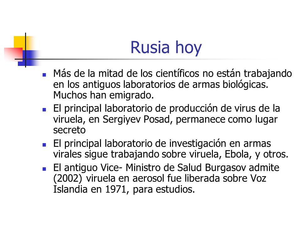 Rusia hoy Más de la mitad de los científicos no están trabajando en los antiguos laboratorios de armas biológicas. Muchos han emigrado.