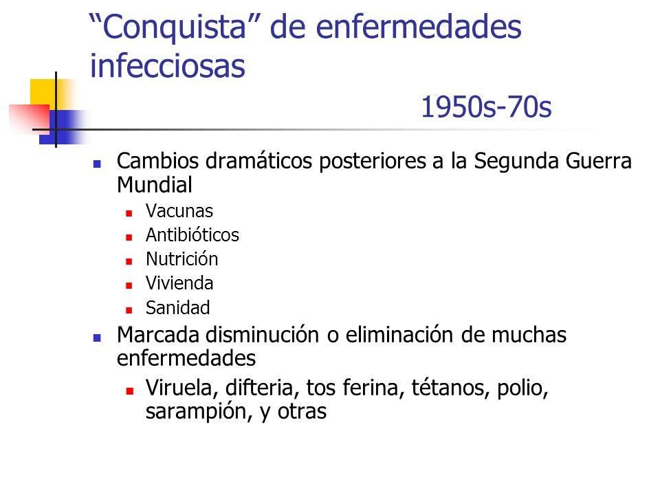 Conquista de enfermedades infecciosas 1950s-70s