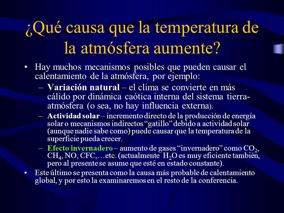 ¿Qué causa que la temperatura de la atmósfera aumente
