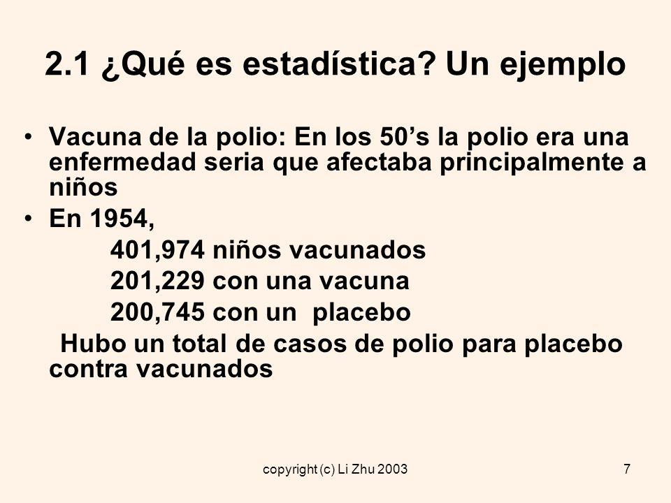2.1 ¿Qué es estadística Un ejemplo