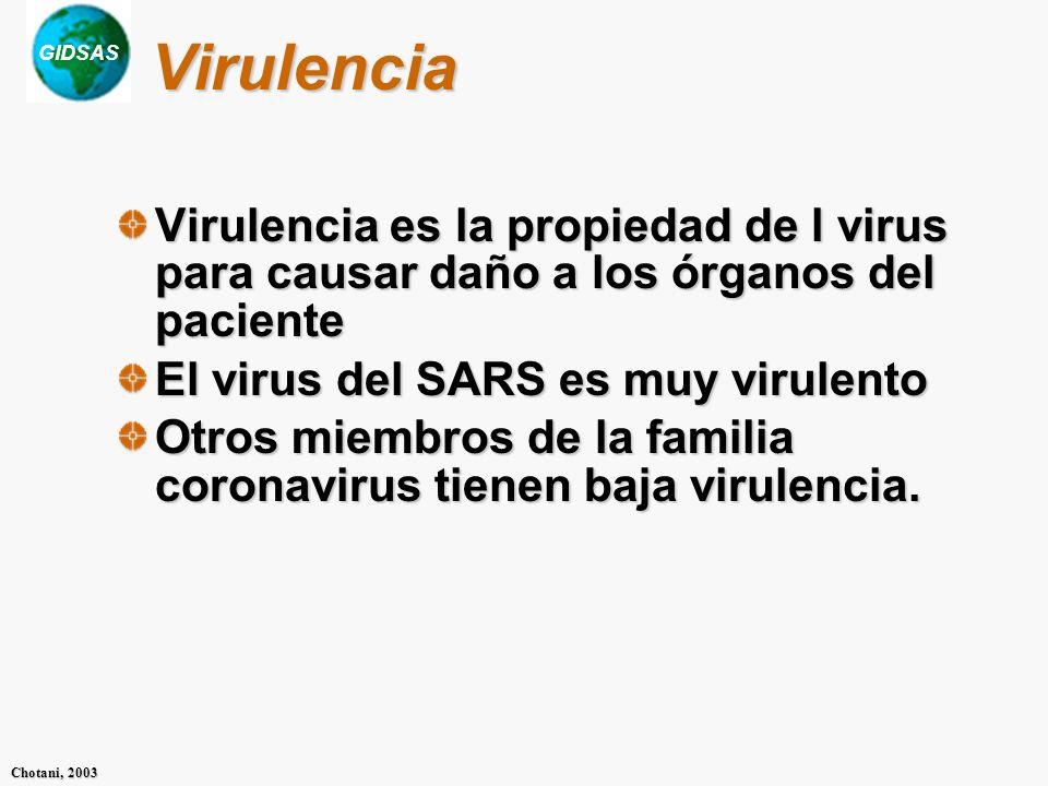 Virulencia Virulencia es la propiedad de l virus para causar daño a los órganos del paciente. El virus del SARS es muy virulento.