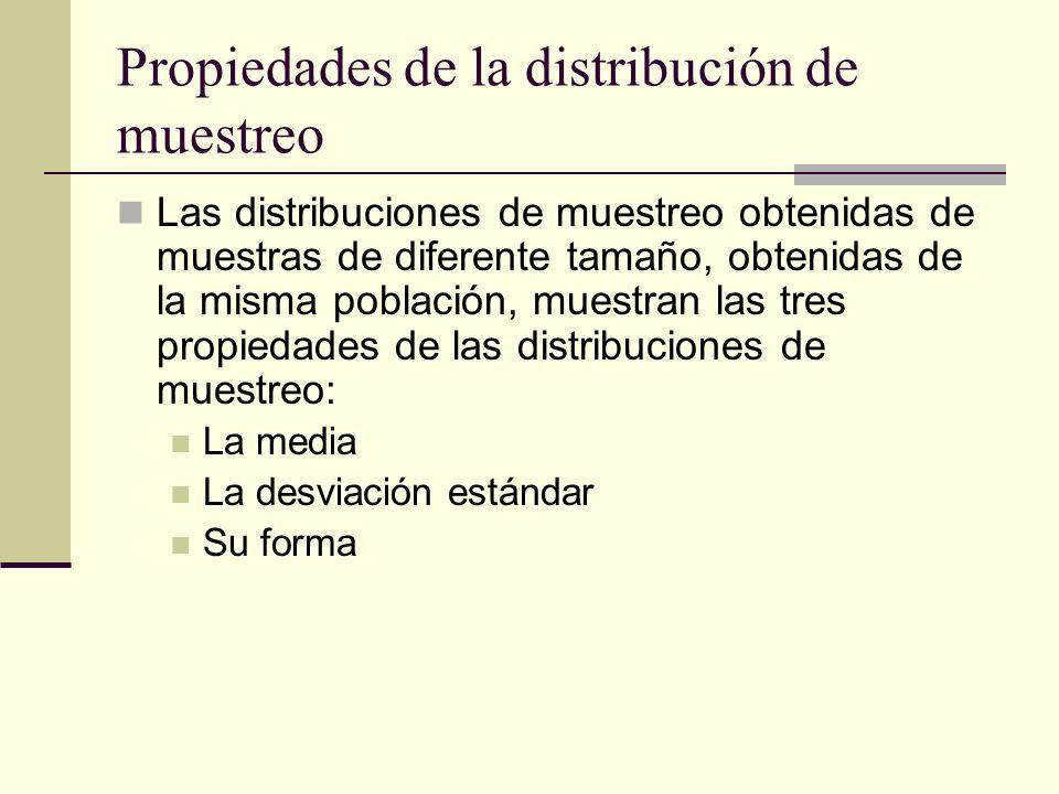 Propiedades de la distribución de muestreo