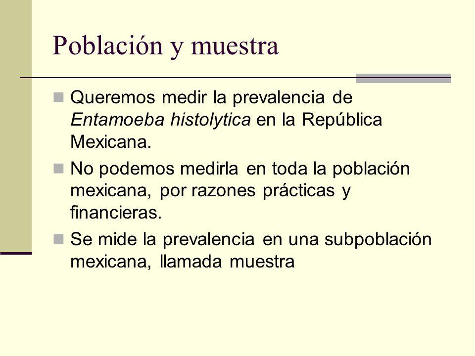Población y muestra Queremos medir la prevalencia de Entamoeba histolytica en la República Mexicana.