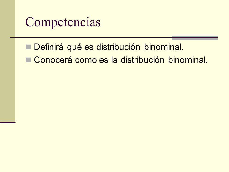 Competencias Definirá qué es distribución binominal.