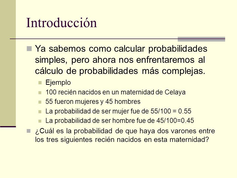 Introducción Ya sabemos como calcular probabilidades simples, pero ahora nos enfrentaremos al cálculo de probabilidades más complejas.