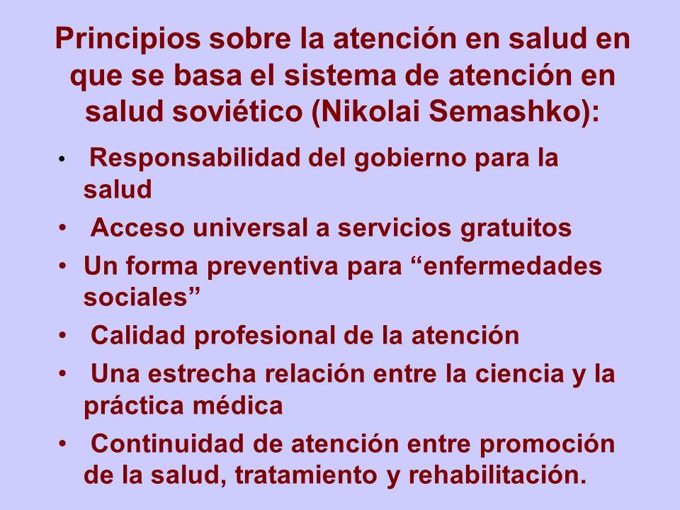 Principios sobre la atención en salud en que se basa el sistema de atención en salud soviético (Nikolai Semashko):