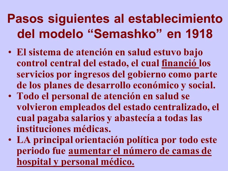 Pasos siguientes al establecimiento del modelo Semashko en 1918