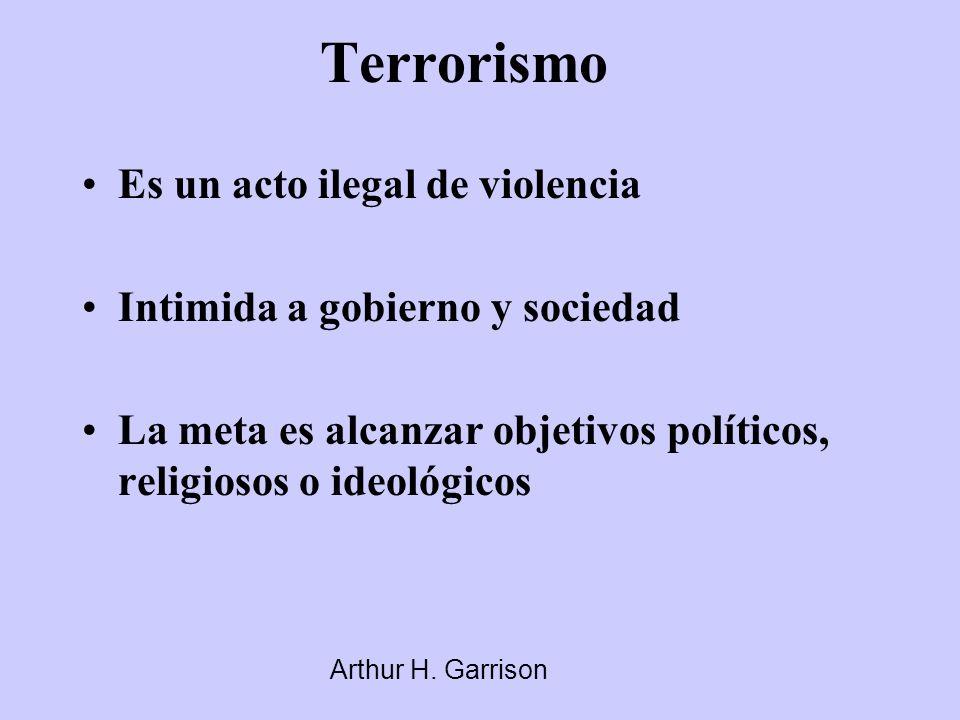 Terrorismo Es un acto ilegal de violencia