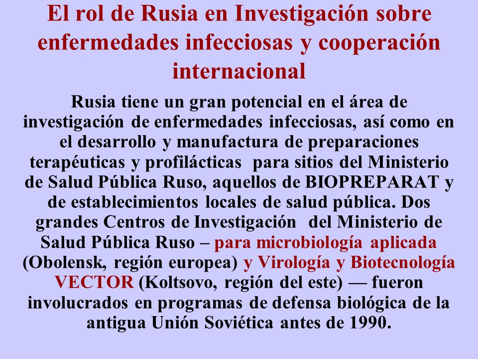 El rol de Rusia en Investigación sobre enfermedades infecciosas y cooperación internacional
