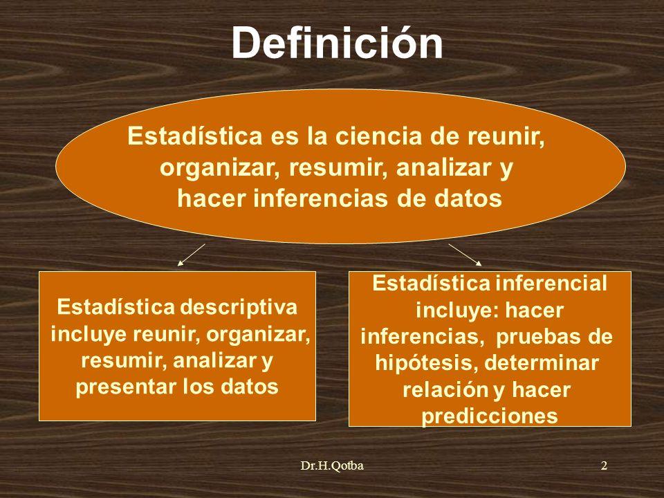 Definición Estadística es la ciencia de reunir,