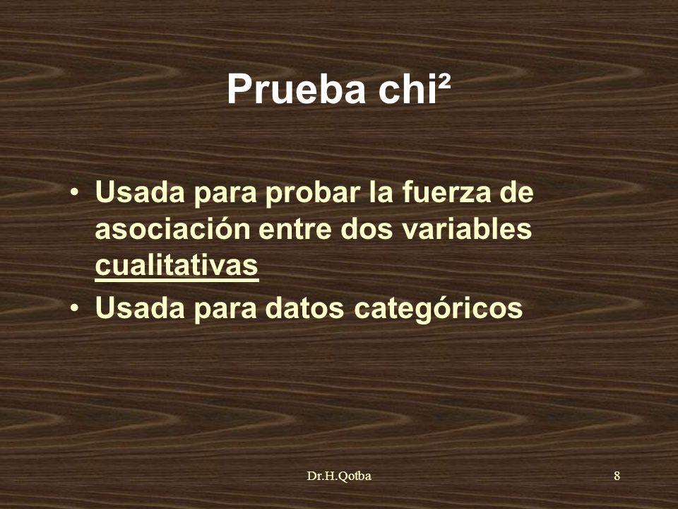 Prueba chi² Usada para probar la fuerza de asociación entre dos variables cualitativas. Usada para datos categóricos.