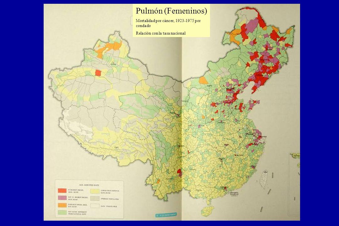 Pulmón (Femeninos) Mortalidad por cáncer, 1923-1975 por condado. Relación con la tasa nacional.