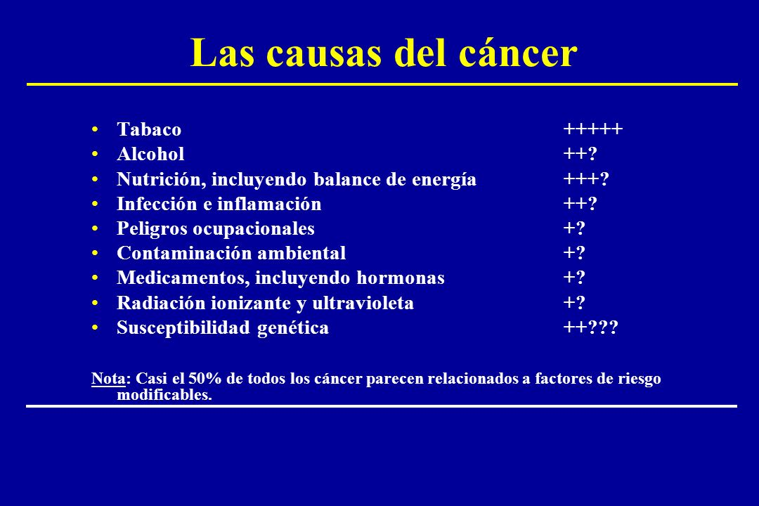 Las causas del cáncer Tabaco +++++ Alcohol ++