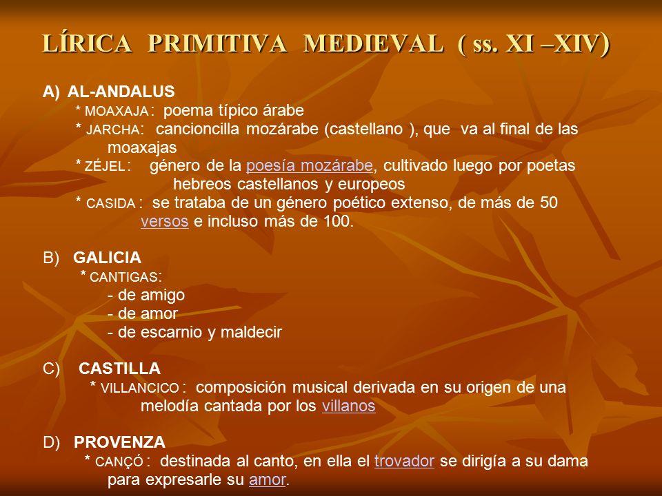 LÍRICA PRIMITIVA MEDIEVAL ( ss. XI –XIV)